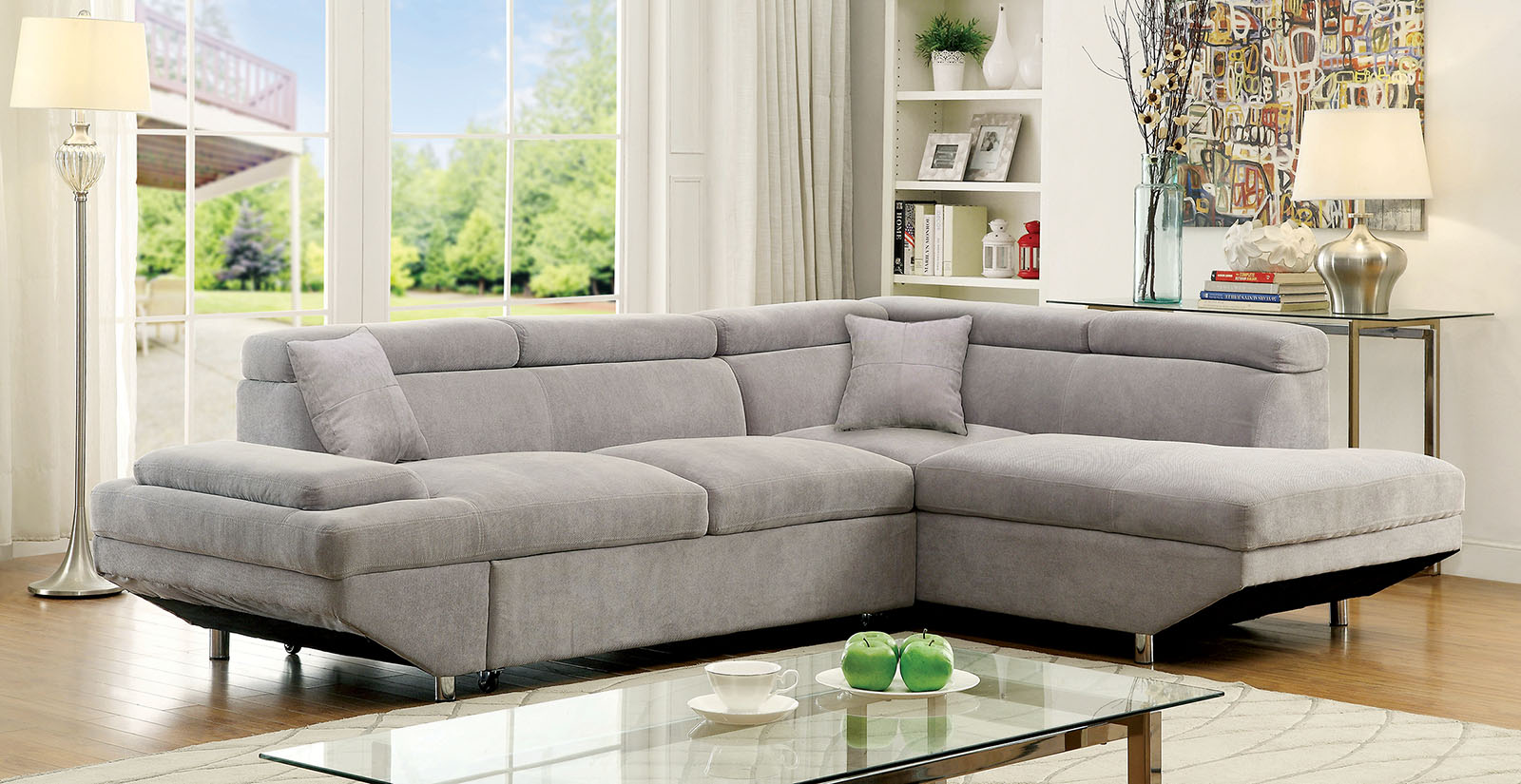 Furniture Of America 6124gy Gray Modern Sleeper Sectional Sofa