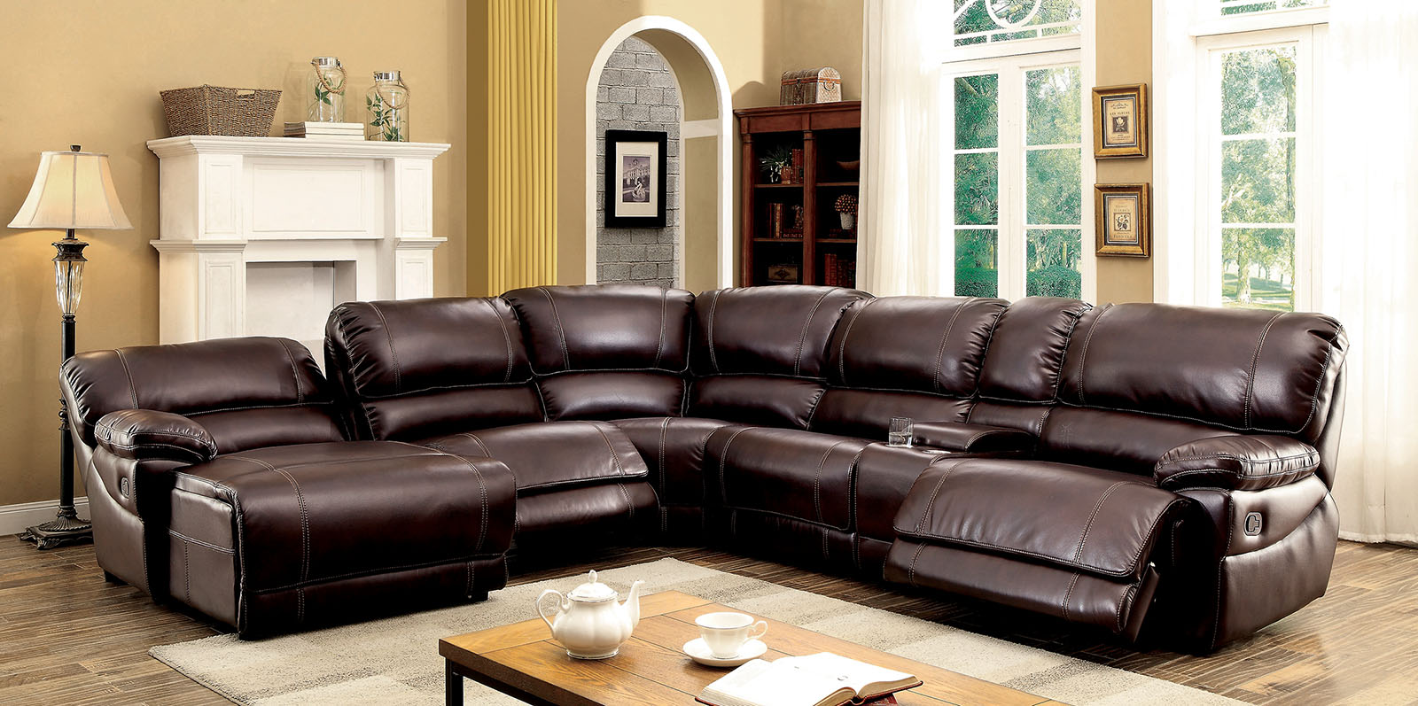 Furniture of america 6131br brown reclining chaise console for Brown sectional with chaise