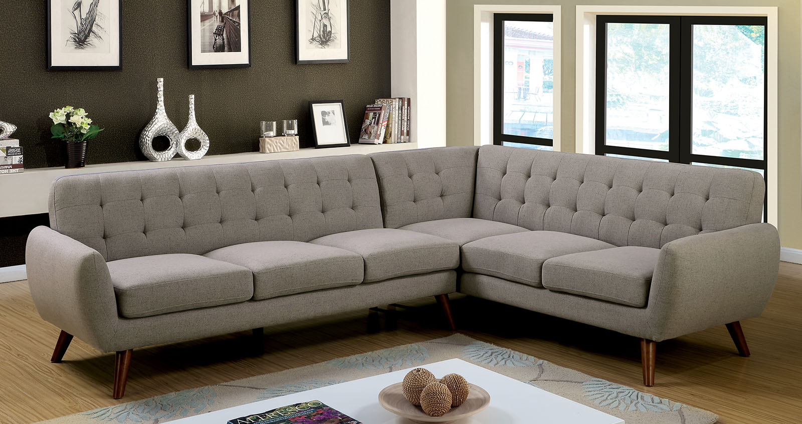 furniture of america 6144 gray mid century modern sectional sofa. Black Bedroom Furniture Sets. Home Design Ideas