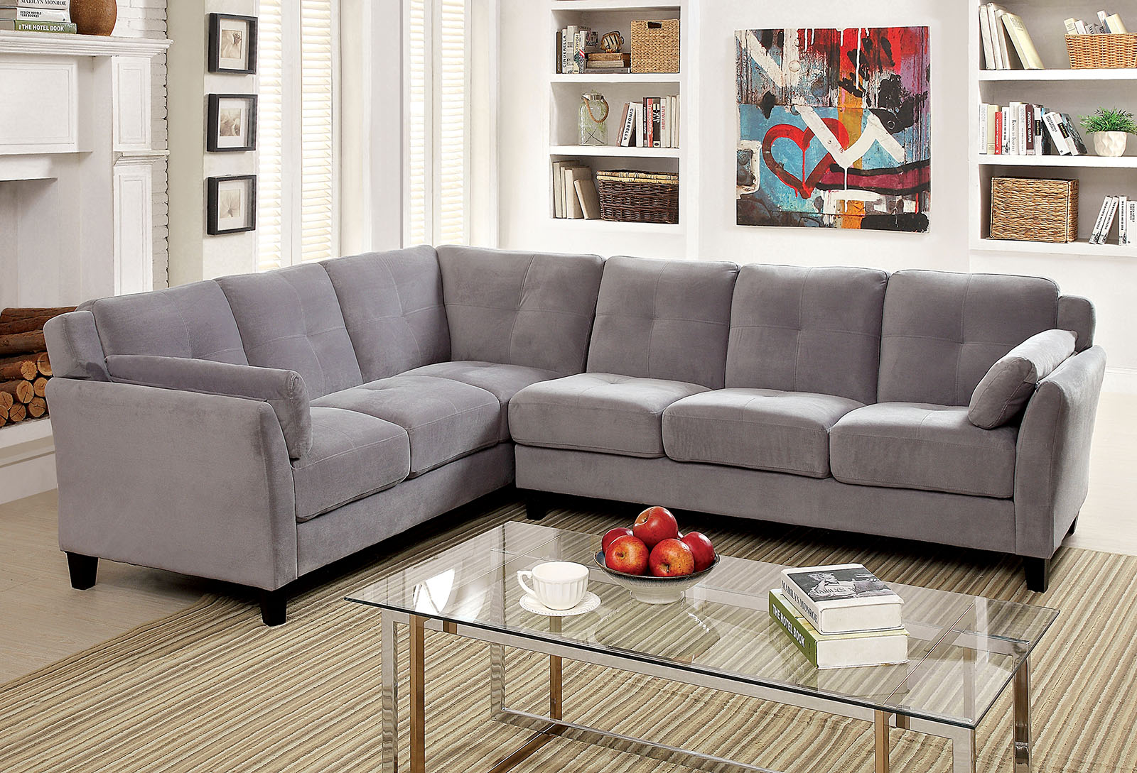 Peever 6368gy Gray Contemporary Sectional Sofa