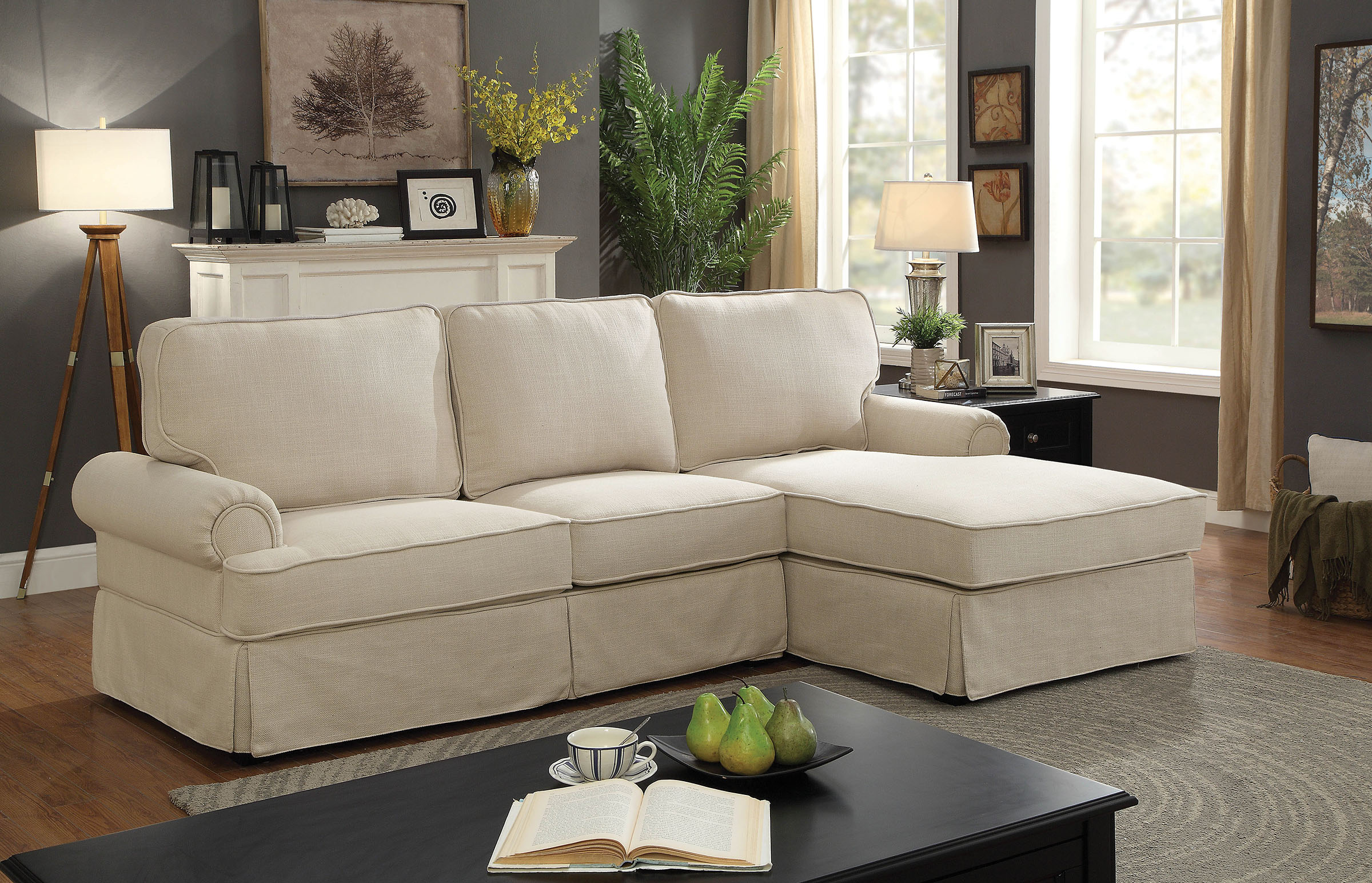 Badalona 6377bg beige rolled arm t cushion sectional for Beige sectional with chaise