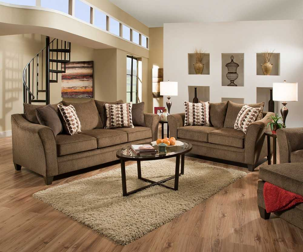 Simmons 6485 Albany Truffle Brown Flared Arm Sofa Loveseat Set