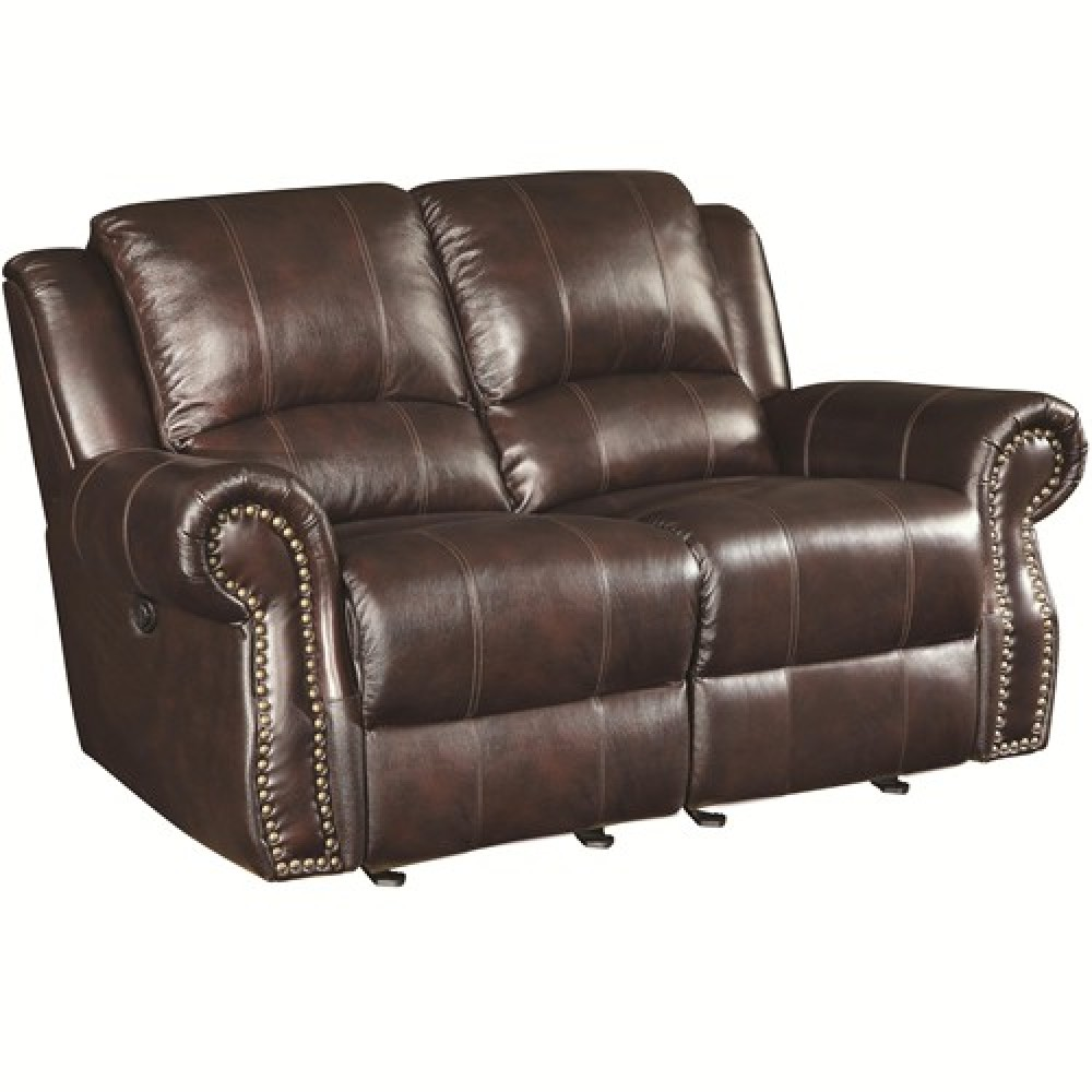 Coaster sir rawlinson 650162 leather nail head trim for Brown leather couch with studs