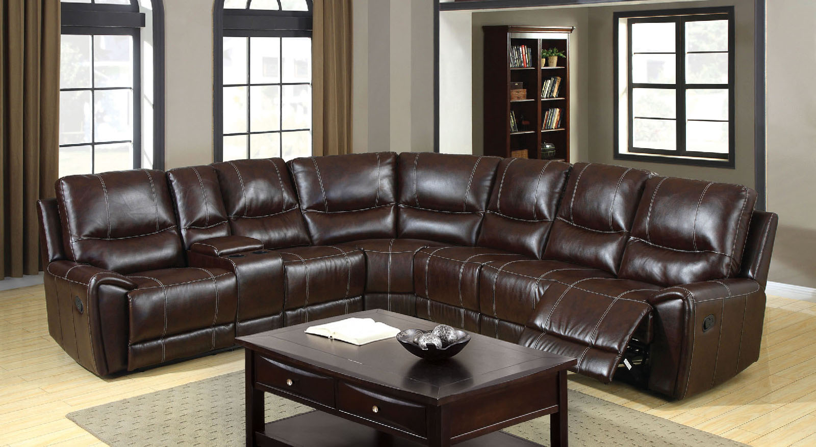 6559 brown reclining console sectional sofa furniture of america los angeles long beach san. Black Bedroom Furniture Sets. Home Design Ideas