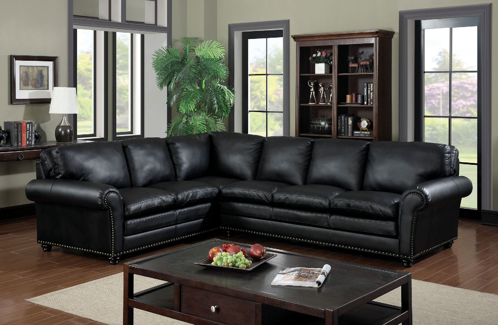 6808 Black Nail Head Trim Sectional Sofa Furniture Of