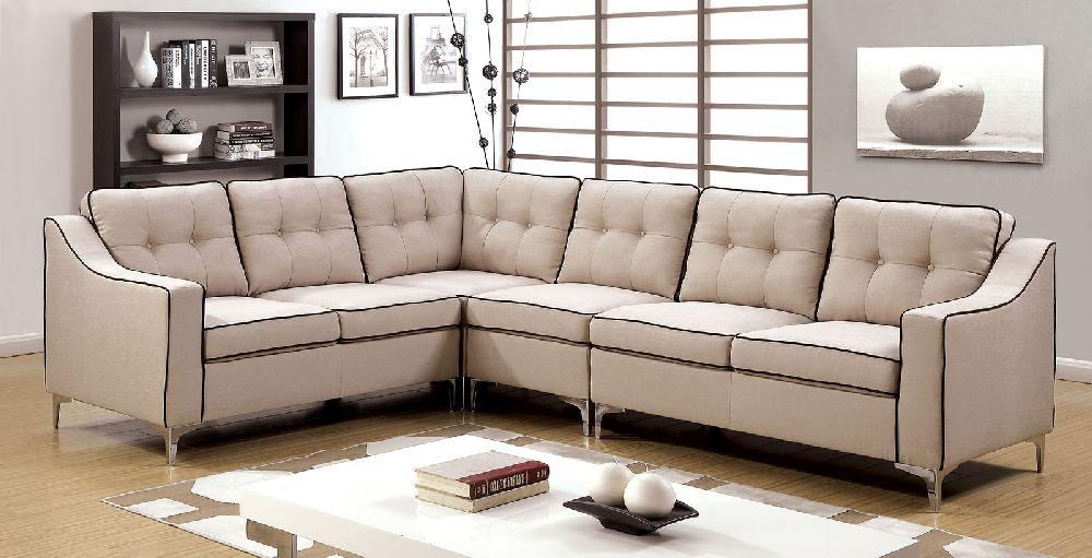 Glenda 6851bg Beige Contemporary Sectional Sofa