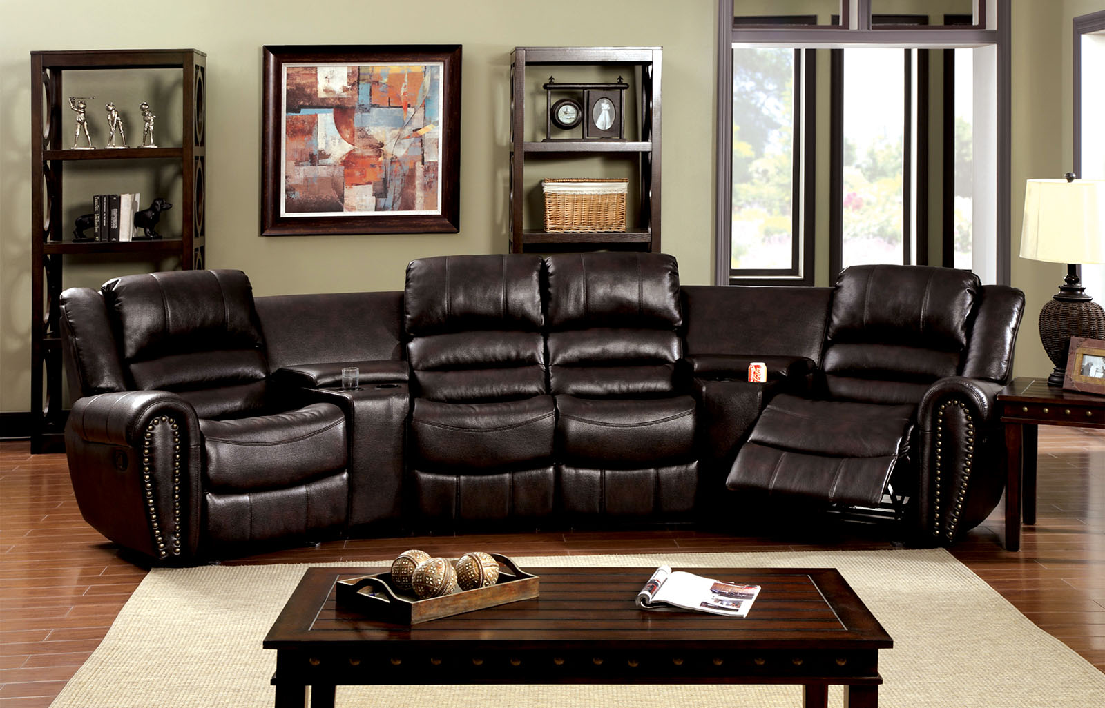 Furniture Of America 6961 Rustic Brown Reclining Theatre