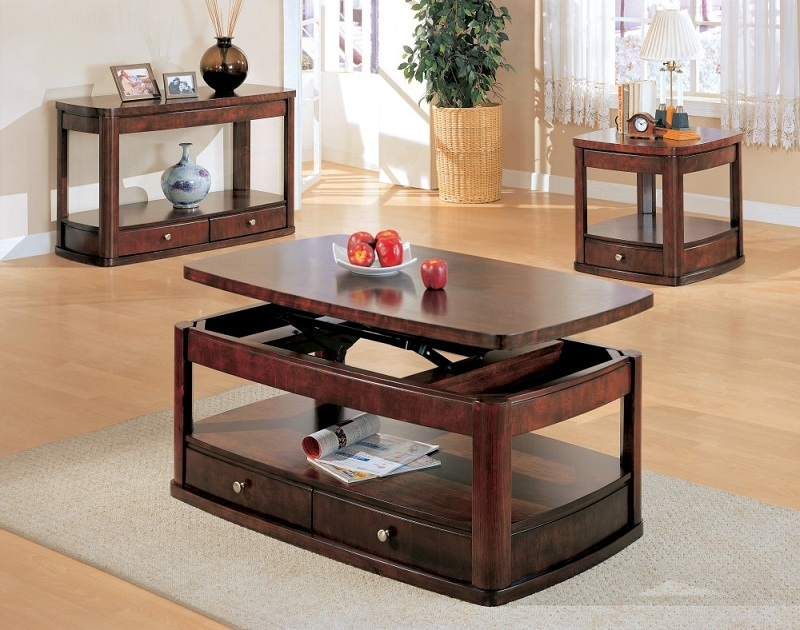 Furniture Outlet Lift Top Storage Coffee Table End Tables Sofa Table Drawers Bottom Shelf