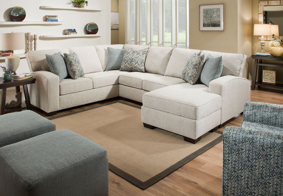 Chenille Fabric Sectional Chaise Sofa