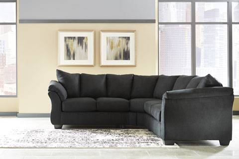 Darcy Black 75008 By Ashley Contemporary Sectional Padded Arms