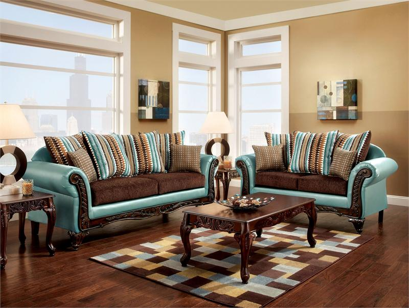 Mulligan Two Tone Teal Brown Carved Wood Trim Rolled Arm Sofa Set Sm7610
