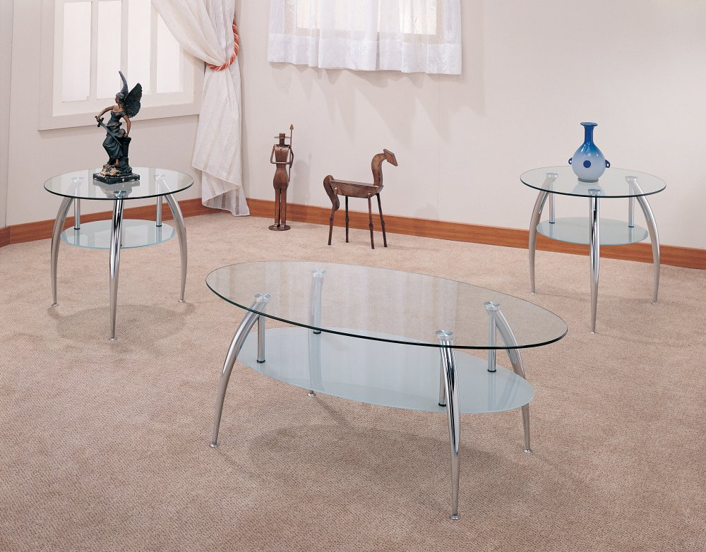 Furniture Outlet Glass Top Metal Coffee Table Set Occassional Set End Table Modern
