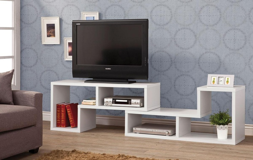 White Shelves Contemporary Tv Console Orange County White Shelves