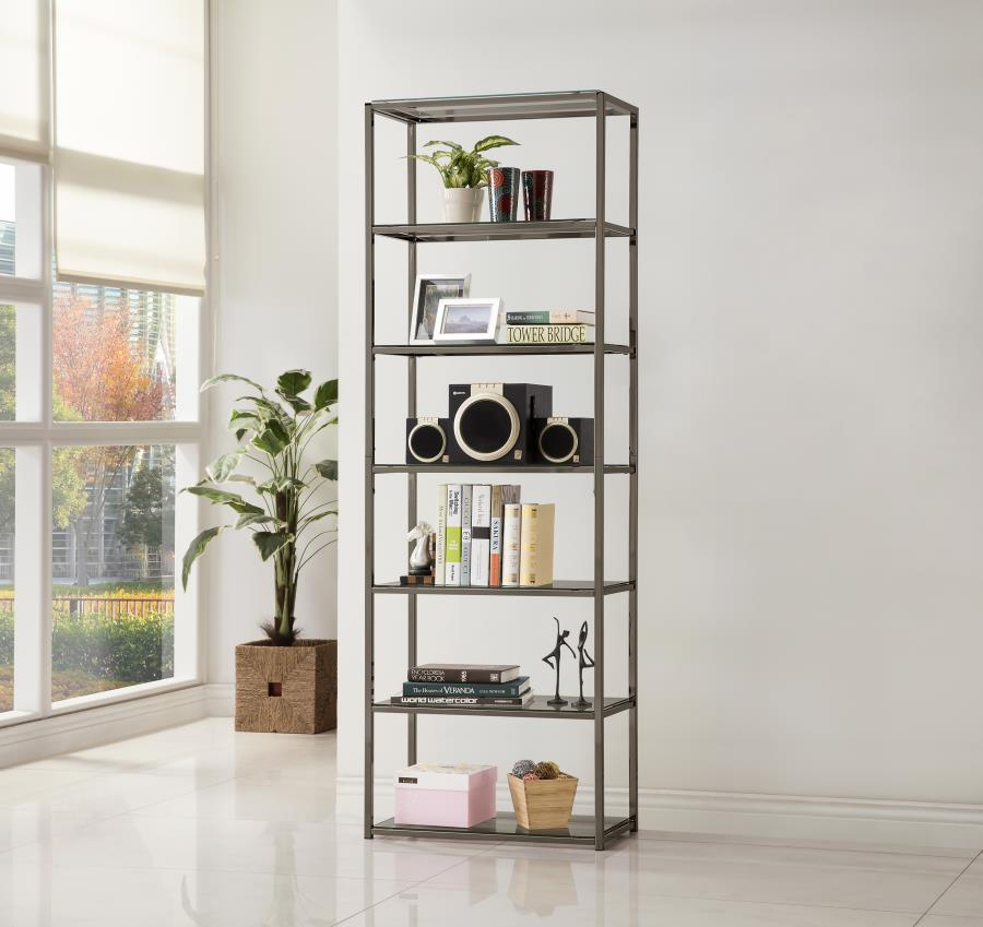 coaster 801017 six tier metal and glass bookcase. Black Bedroom Furniture Sets. Home Design Ideas