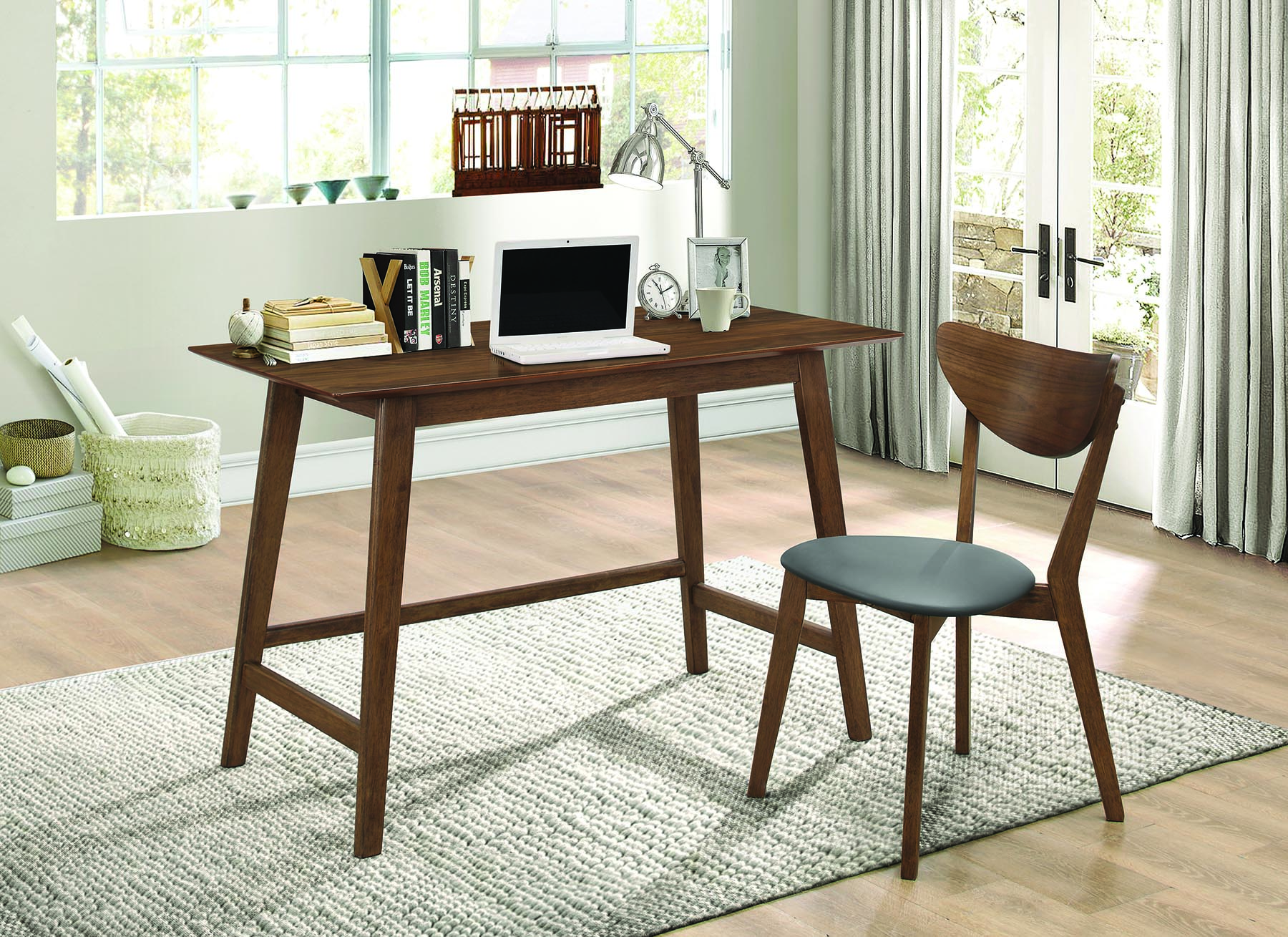 Coaster Two Piece Walnut Finish Desk and Chair Set