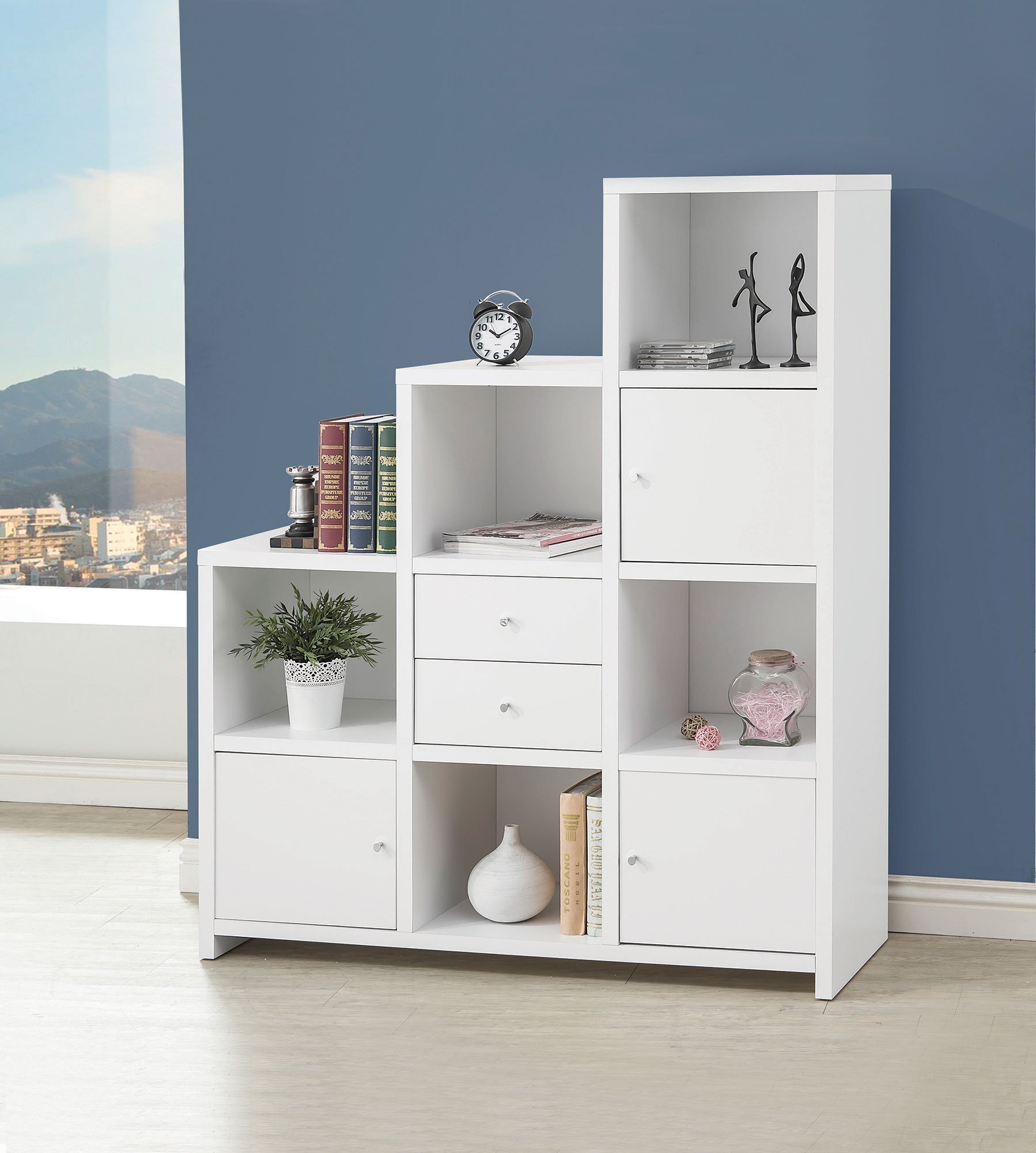 Elise Collection 801169 White Staircase Bookcase