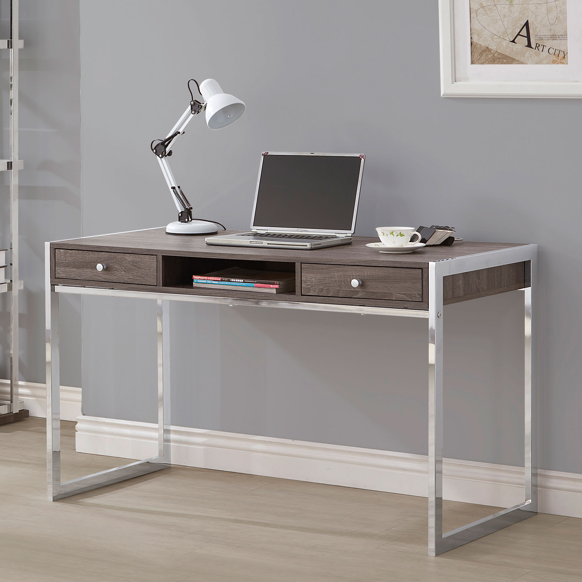 Laura Collection 801221 Weathered Grey And Chrome Writing Desk