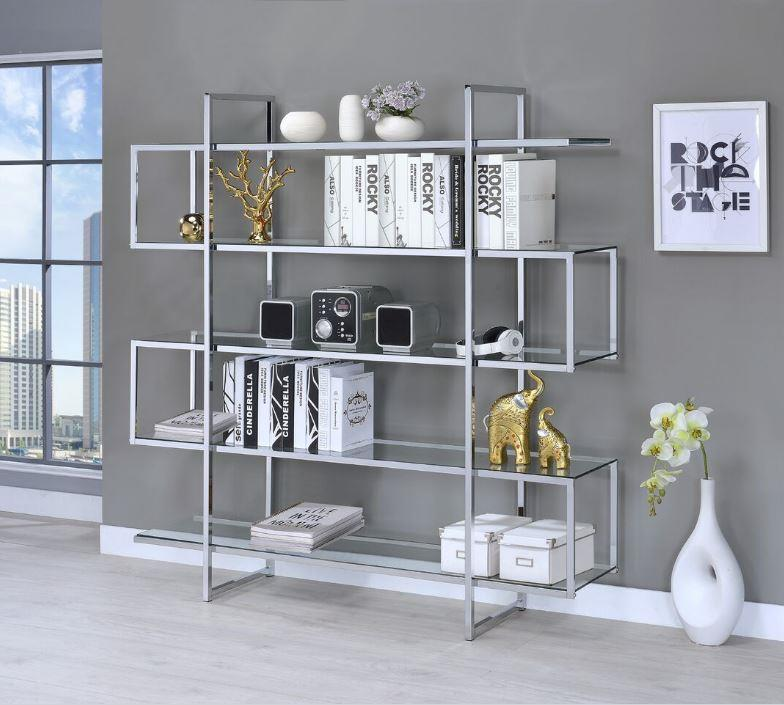 Coaster 801304 Four Tier Chrome And Glass Bookcase