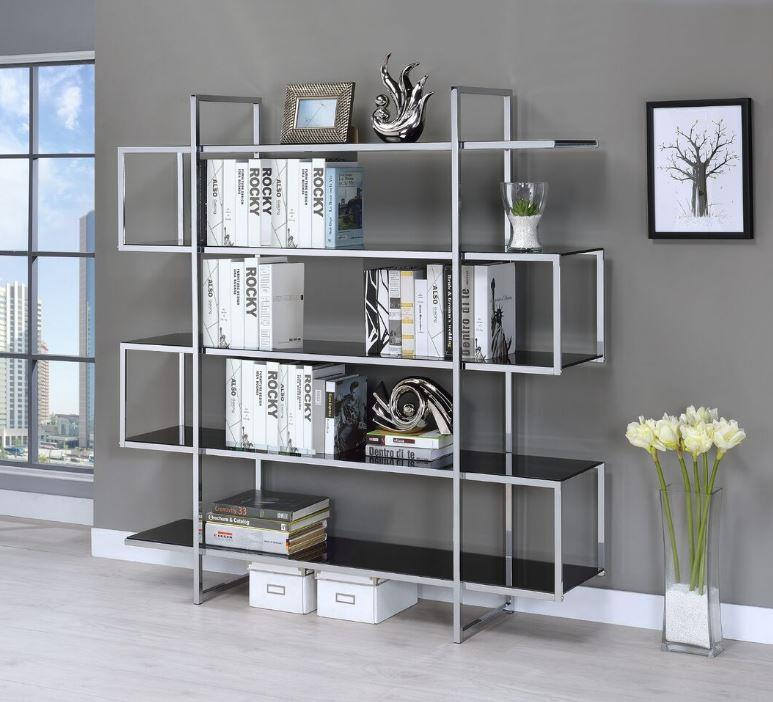 Coaster 801306 Four Tier Chrome And Glass Bookcase