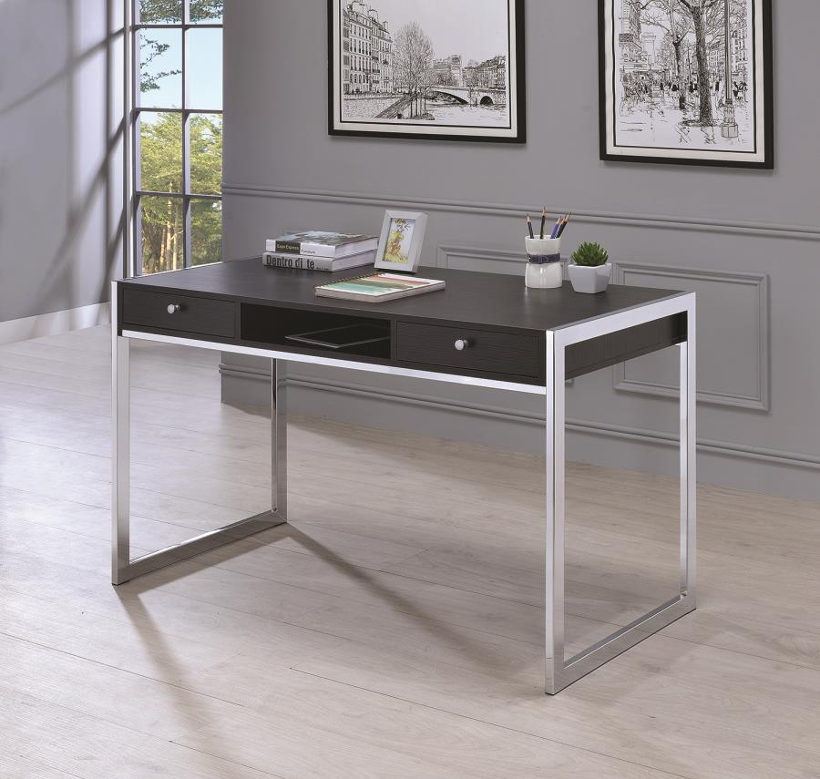 Laura Collection 801352 Dark Grey And Chrome Writing Desk