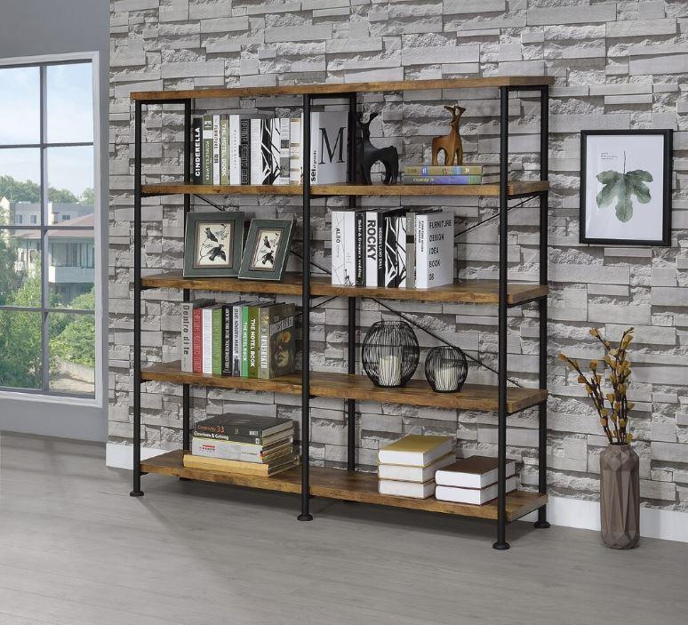 Coaster 801543 Nutmeg Brown And Black Double Bookcase