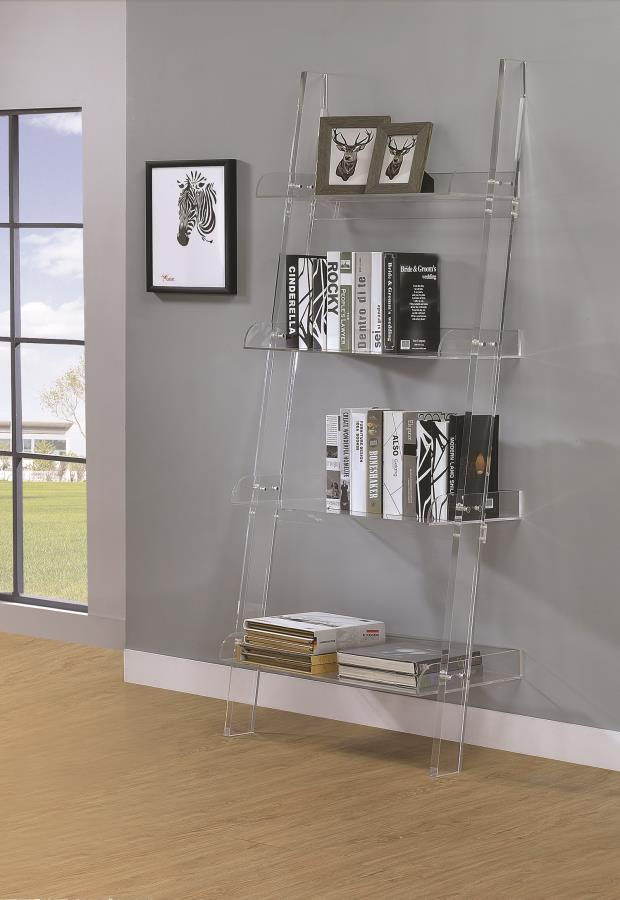 Coaster 801553 Clear Acrylic Ladder Bookshelf