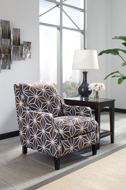 Brise 84102 By Ashley Accent Chair 1970s Style Sloping Track Arms Geometric Patterns