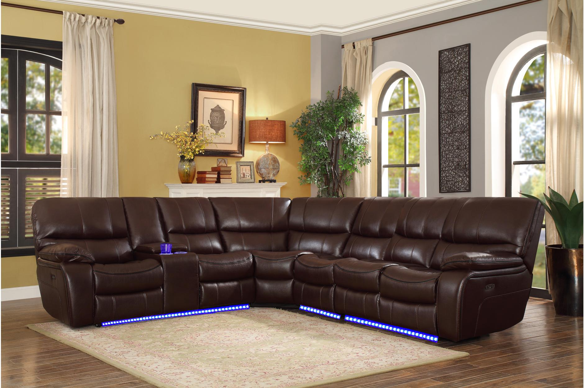 Pecos Dark Brown Leather Power Sectional 8480BRW by Homelegance
