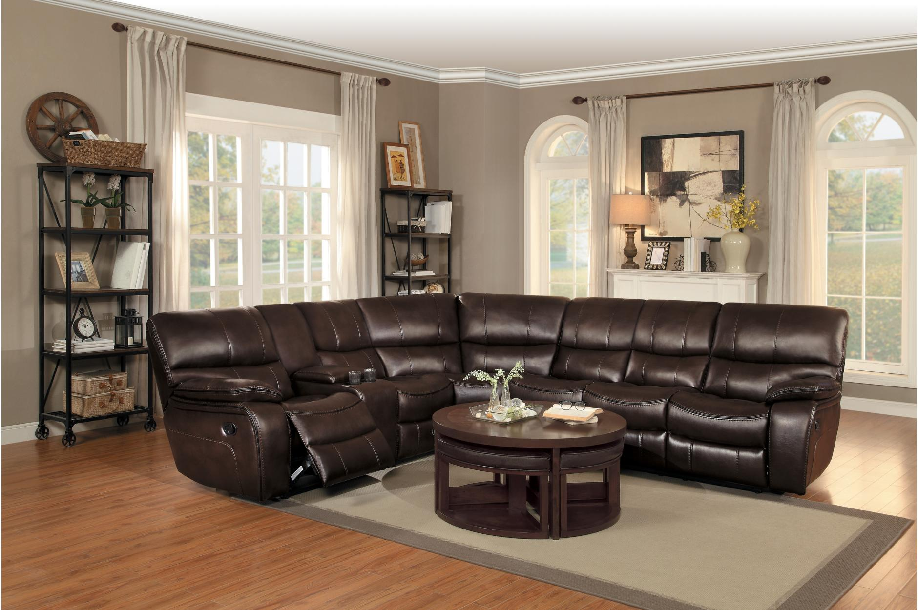 Pecos Dark Brown Leather Sectional 8480BRW by Homelegance