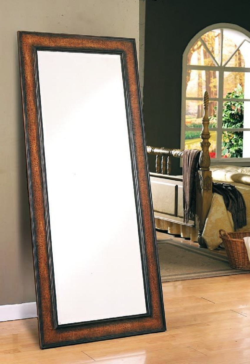 Brown Crackle Finish Floor Mirror 8575 Collection