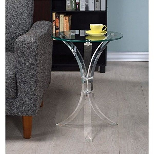 Coaster 900490 Clear Round 3 Leg Acrylic Accent End Table