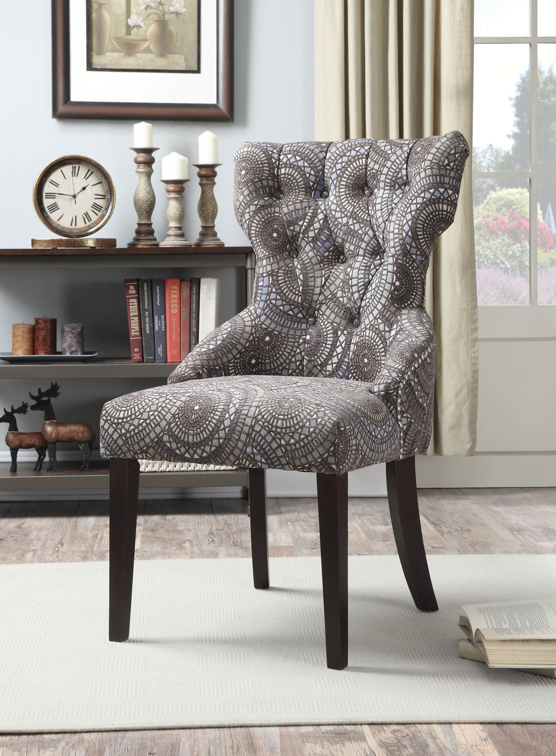 With Button Tufted Back, This Accent Chair Upholstered In