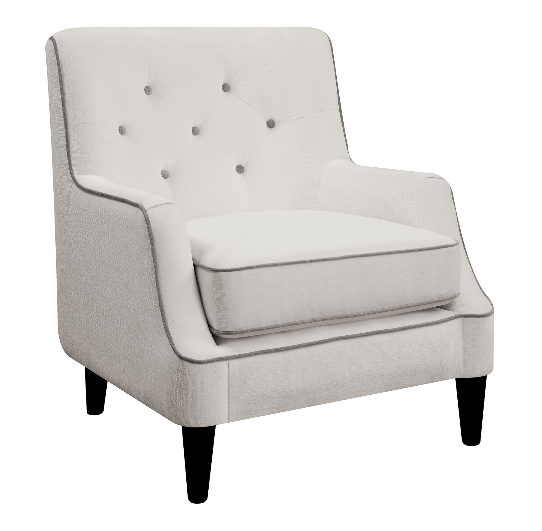 Pleasant Donny Osmond Home 902895 White Accent Chair With Gray Trim Andrewgaddart Wooden Chair Designs For Living Room Andrewgaddartcom