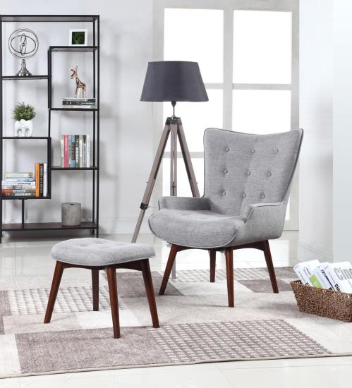 Scott Living 903820 Gray Fabric Accent Chair And Matching