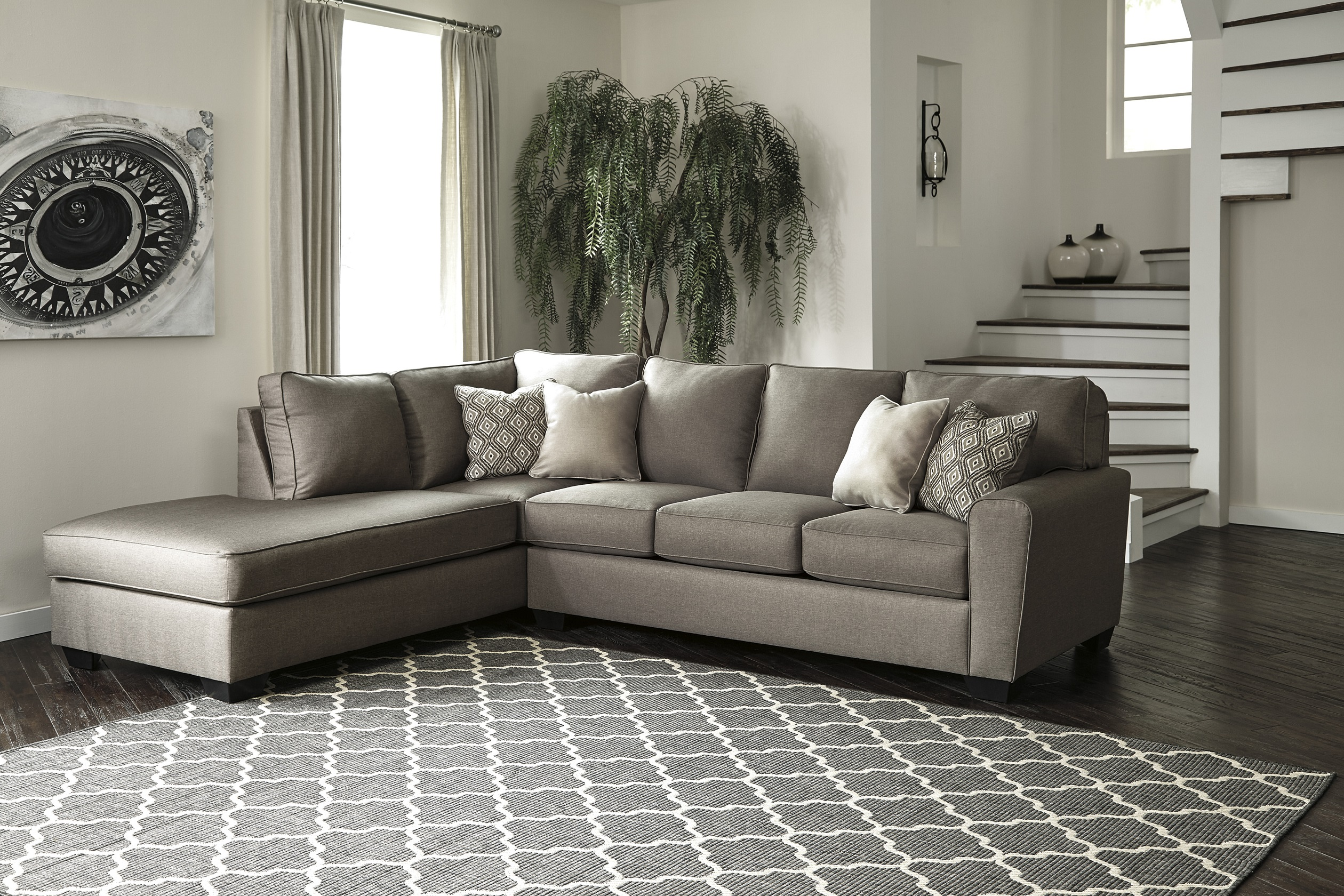 Calicho by Ashley 17 Charcoal Sectional gray fabric
