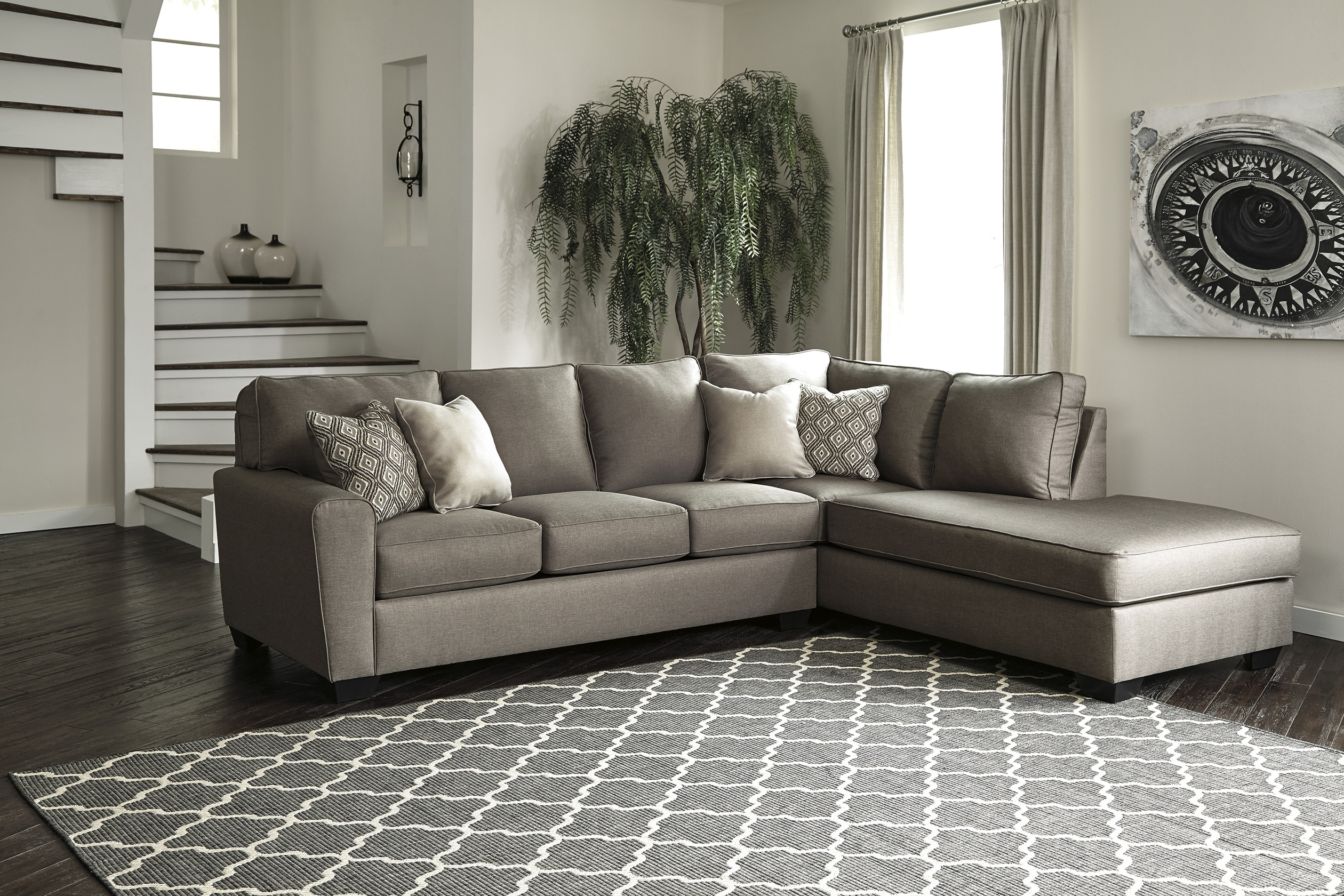 Calicho Charcoal Sectional by Ashley 91202-17 wide tapered ...