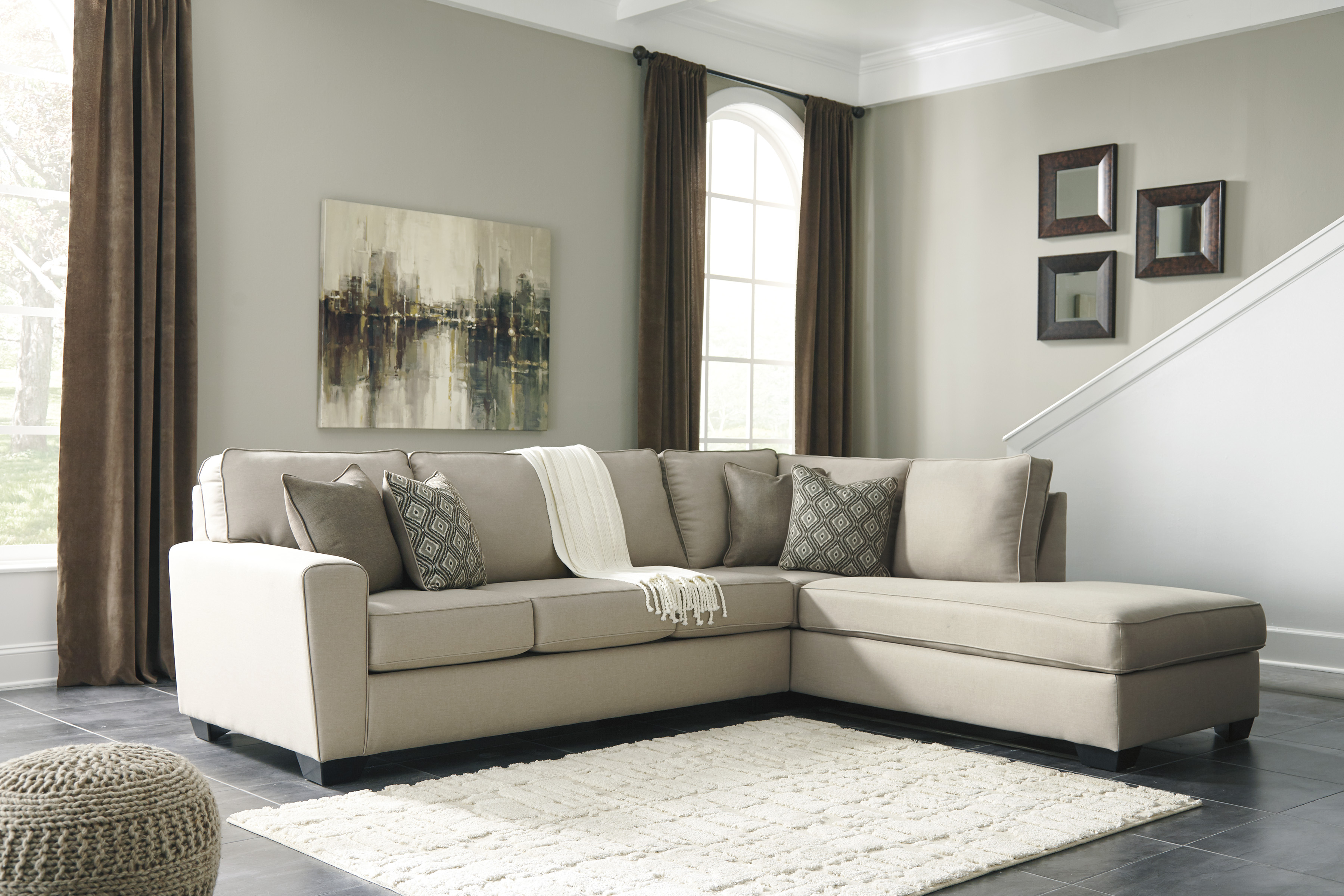 Calicho Charcoal Sectional by Ashley 17 wide tapered arms
