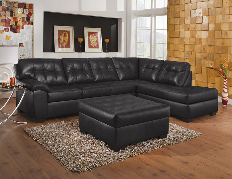 Showtime 9568 Black Tufted Sectional with Chaise : soho tufted sectional - Sectionals, Sofas & Couches