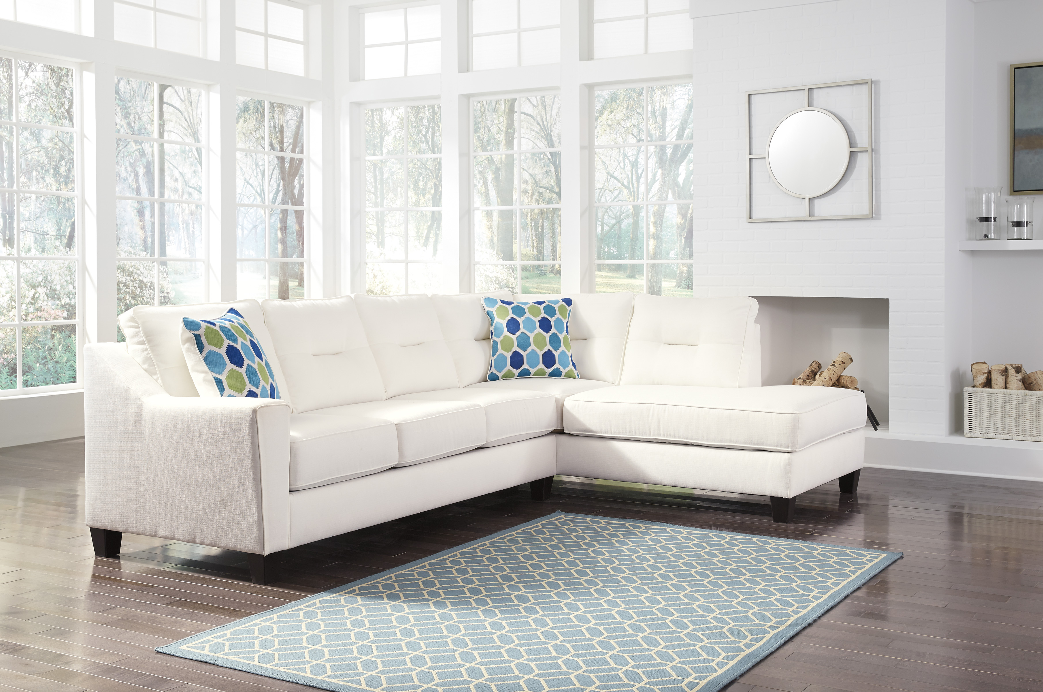 Kirwin White Sectional by Ashley Furniture Nuvella Fabrics