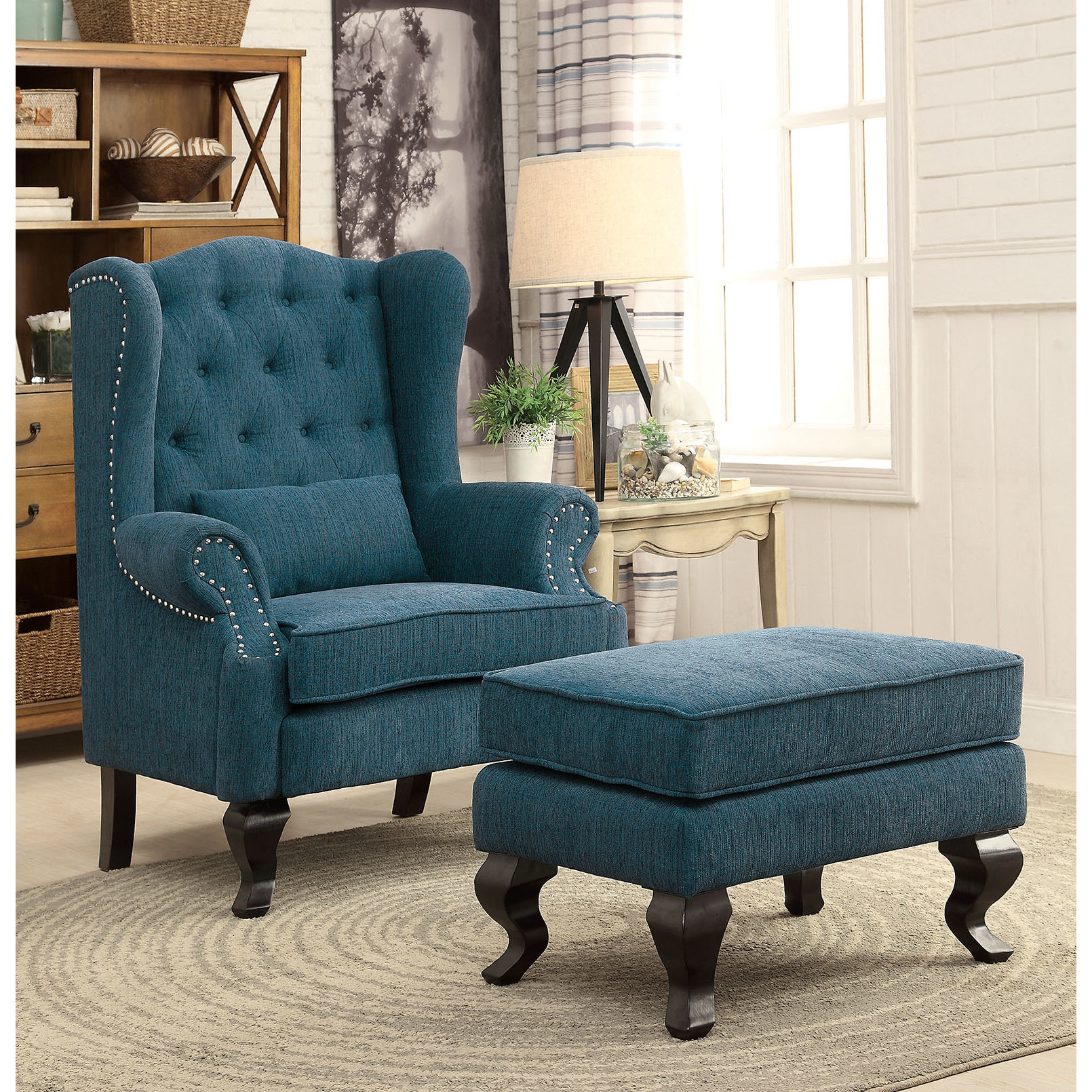 Furniture Of America Ac6271tl Teal Button Tufted Wing Back