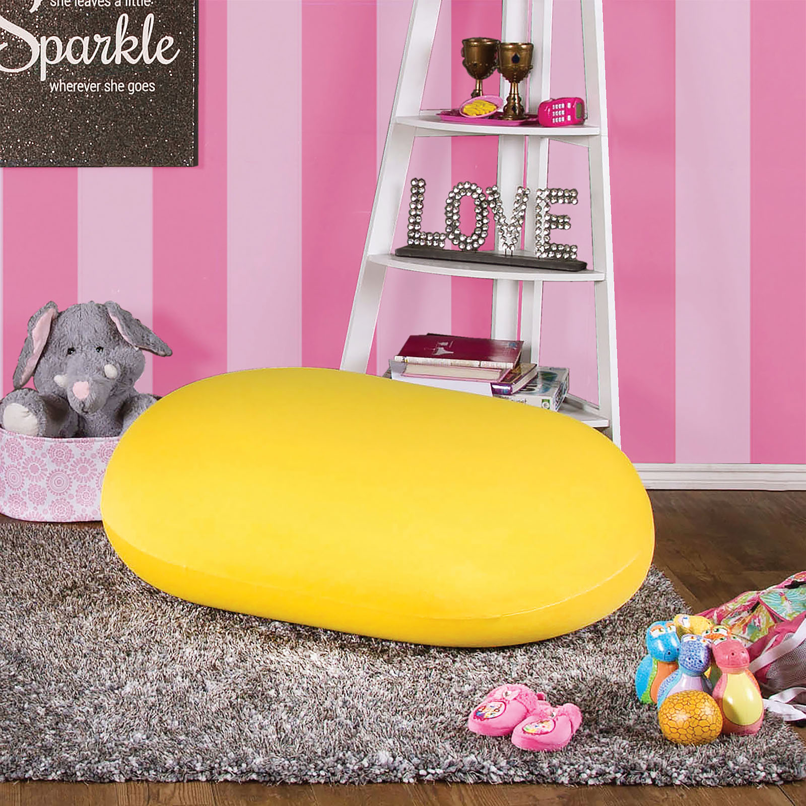 Furniture of America AC881YW Yellow bean bag spandex accent chair