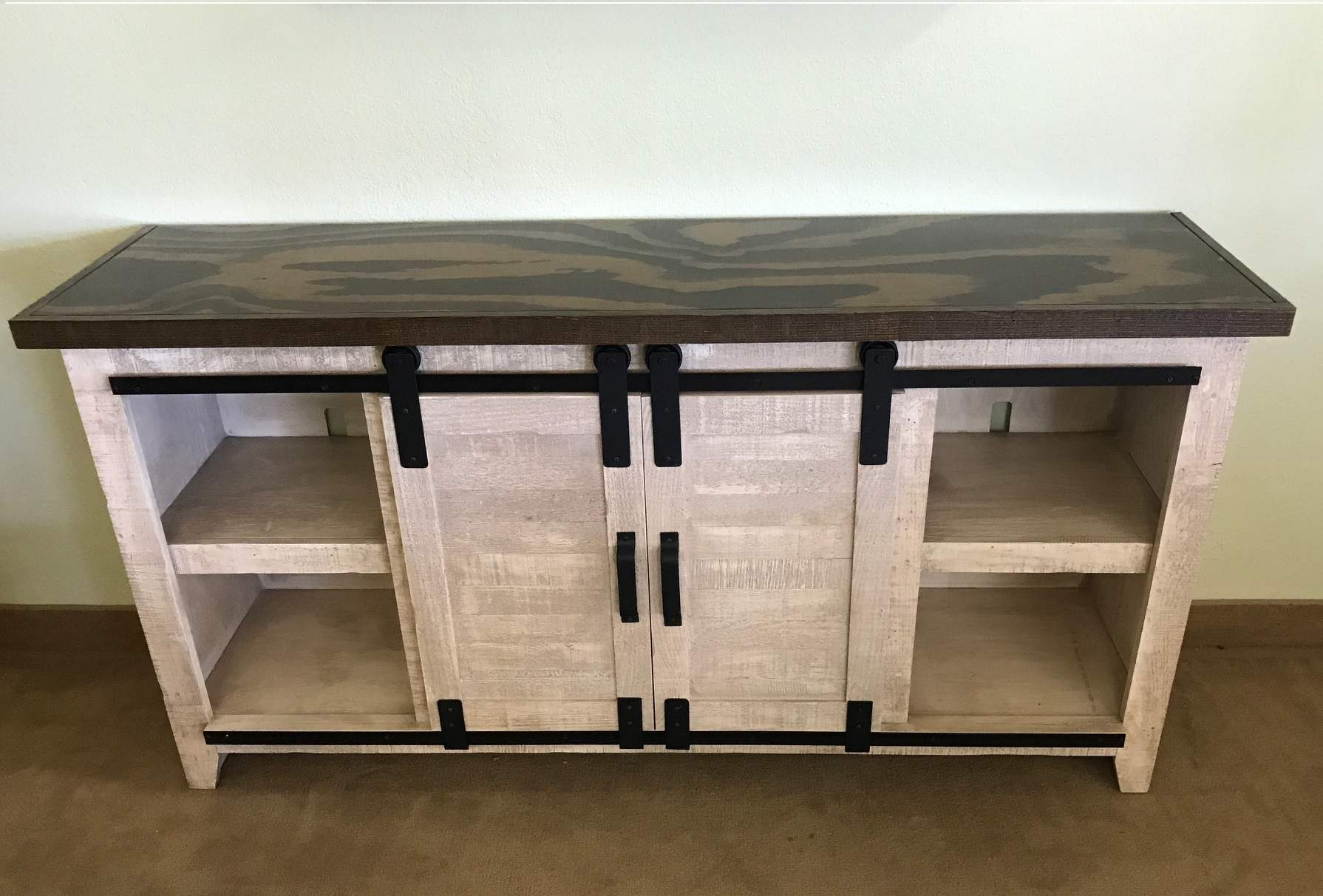 Two Tone Solid Wood Rustic Barn Door Tv Stand