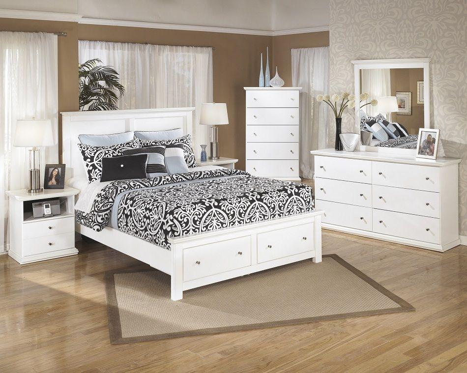 Ashley Furniture B139 Bostwick Shoals Storage White Bedroom Set Bed