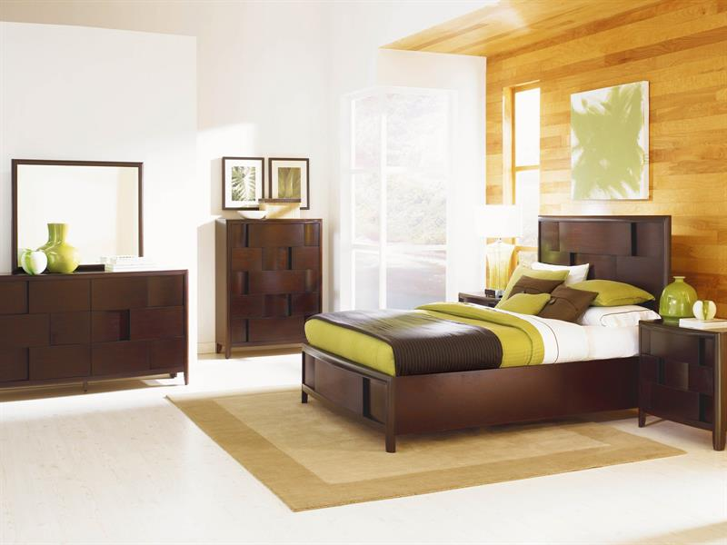 Nova Collection B1428 Contemporary Bed Set In A Chestnut Finish By Magnussen