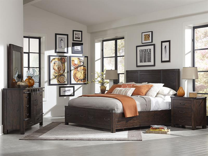 Pine Hill Collection B3561-54 Panel Bedroom Set with Storage ...