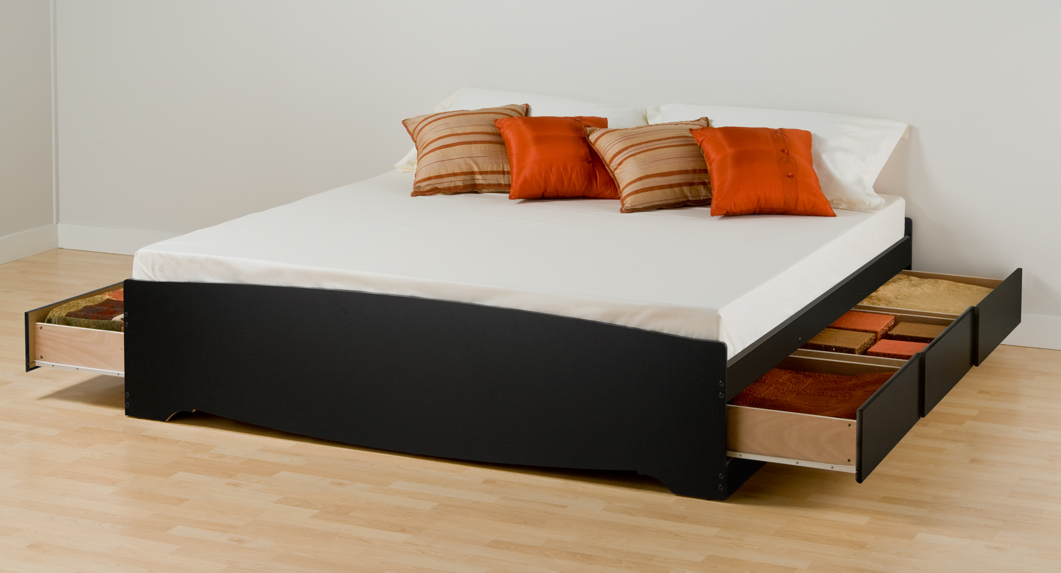 Black King Platform Storage Bed  Drawers Bbk