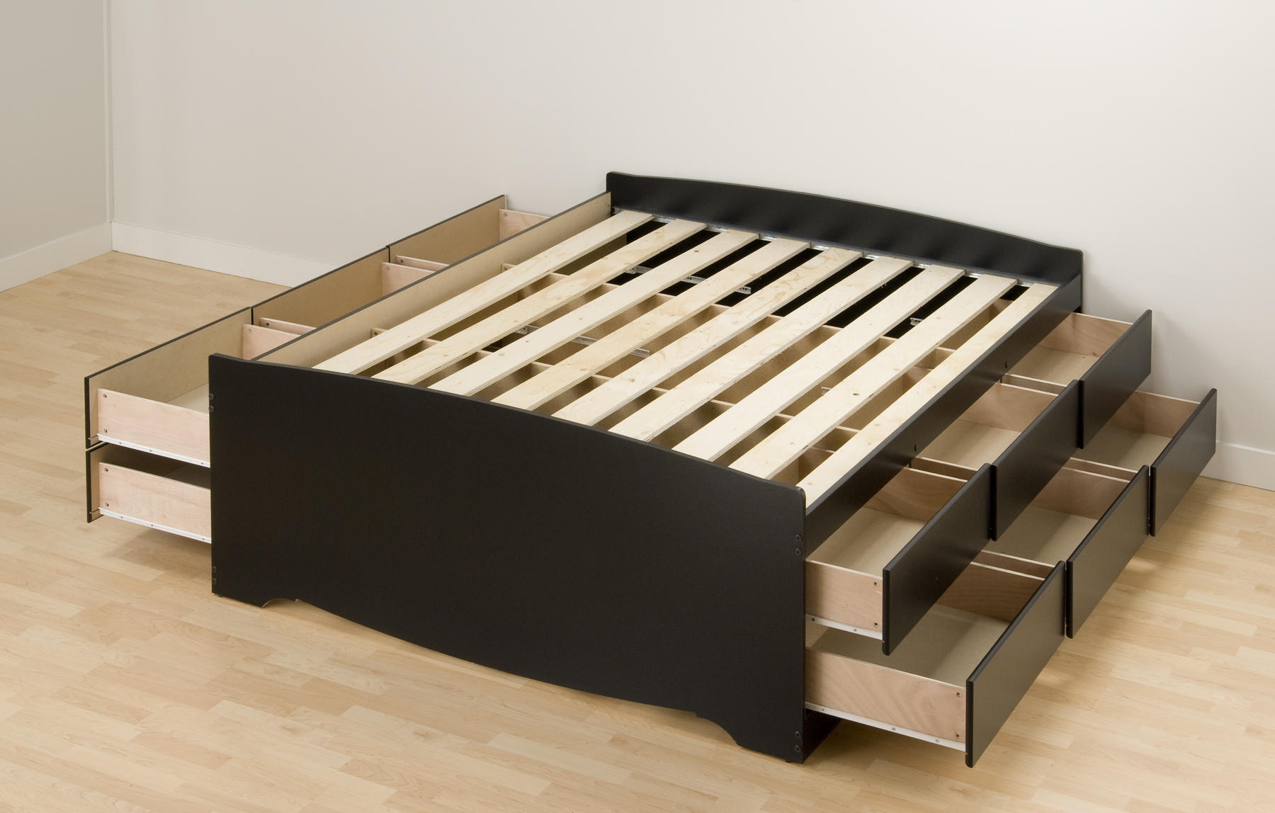 Prepac, Black Tall Queen Platform Storage Bed (12-drawers ...