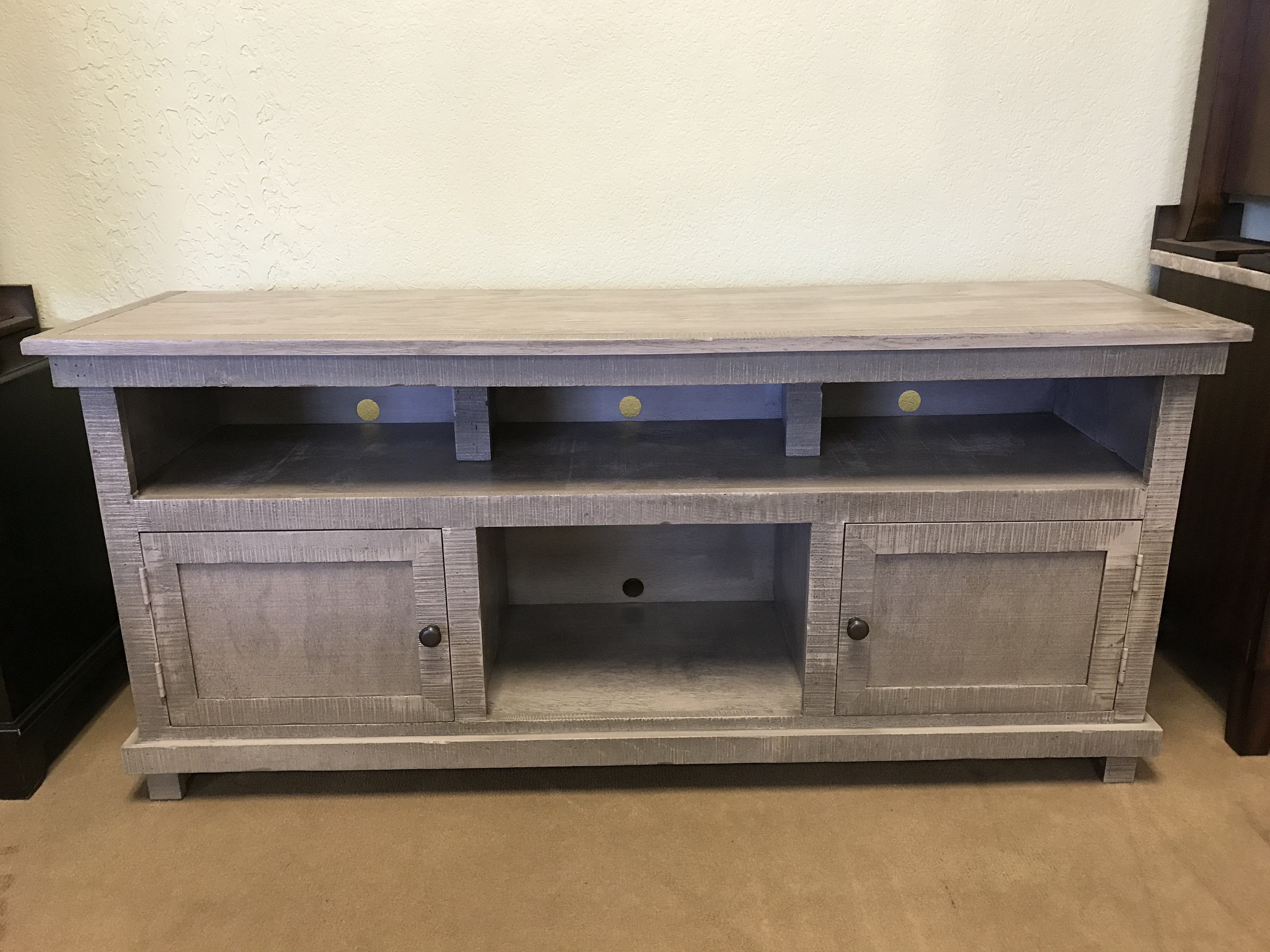 Rustic 60 Quot Long Tv Stand Grey Solid Wood Entertainment Center
