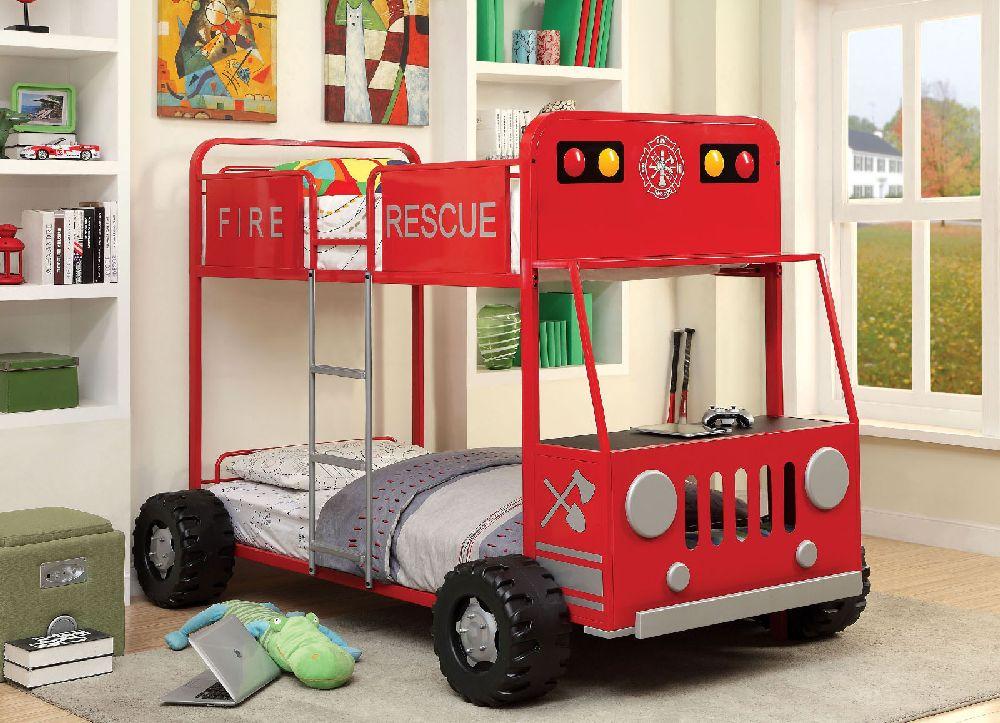 Furniture Of America CM BK1043 Twin Fire Truck Bunk Bed