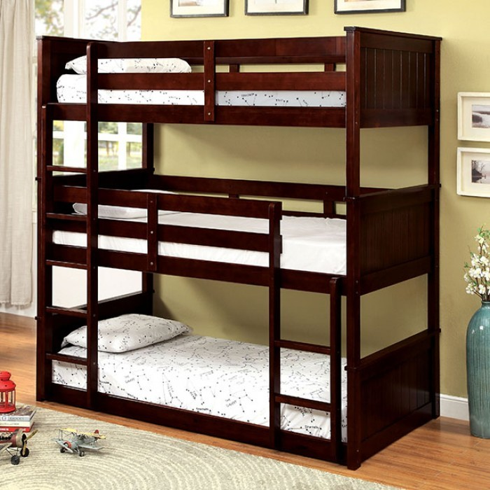 Triple Twin Wood Cuccino 3 Tier Bunk Bed